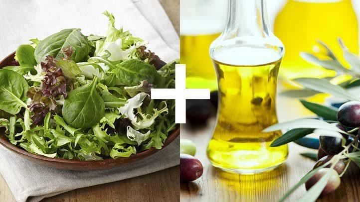 سبزی های برگدار و روغن زیتون (ویتامین کا و چربی های خوب)
