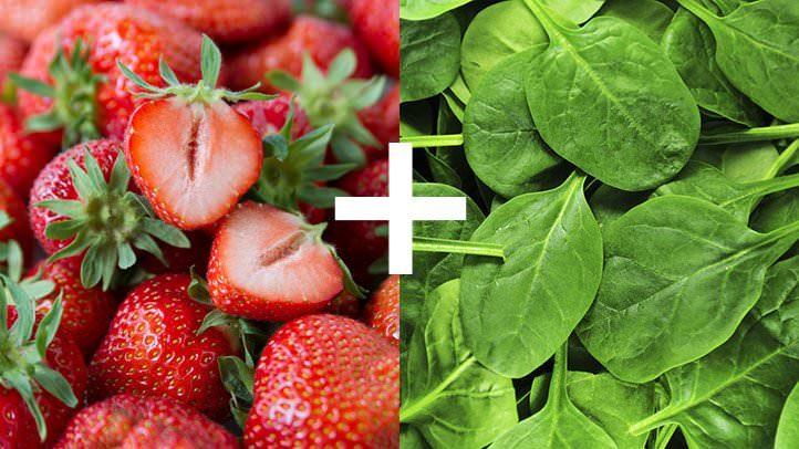 توت فرنگی و اسفناج (ویتامین سی و آهن)